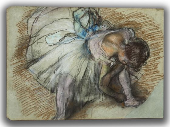 Degas, Edgar: Dancer Adjusting Her Shoe. Fine Art Canvas. Sizes: A4/A3/A2/A1 (003732)